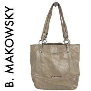 B. MAKOWSKY LARGE TAN LEATHER SHOULDER BAG